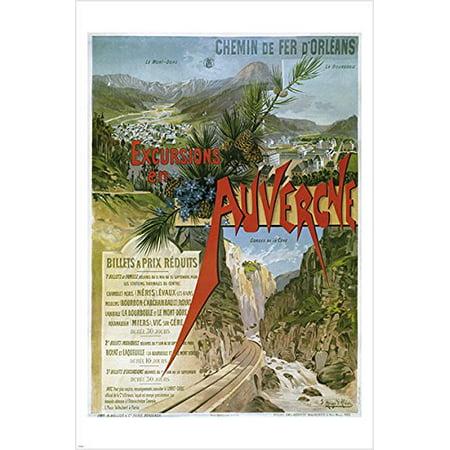 Vintage Travel Poster Auvergne France Mountains River Wilderness 24X36 Rare
