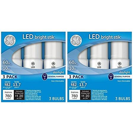 GE Lighting 79369 LED Bright Stik 10-watt (60-Watt Replacement), 760-Lumen  Light Bulb with Medium Base, Daylight, 2 Box (6 Bulbs Total)