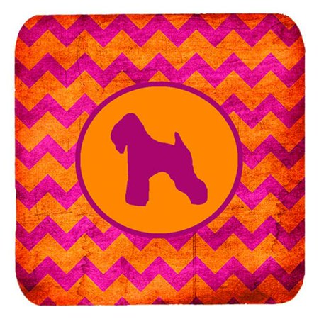 Wheaten Terrier Soft Coated Chevron Pink And Orange Foam Coasters, Set Of 4 - image 1 de 1