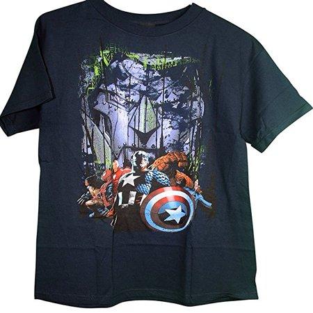 Marvel Team Ups Captain America Iron Man Wolverine Spiderman Thing Adult T-Shirt (Spider Man Wolverine T-shirt)