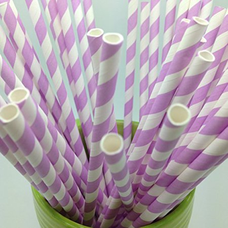 Light Purple Stripes Paper Straws - Party DIY, Mason Jars, Baby Shower, Chevron and Polka Dots 125 straws