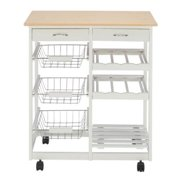 Ktaxon Rolling Kitchen Trolley Cart Island Shelf w/ Storage Drawers Baskets,Wood Kitchen Cart