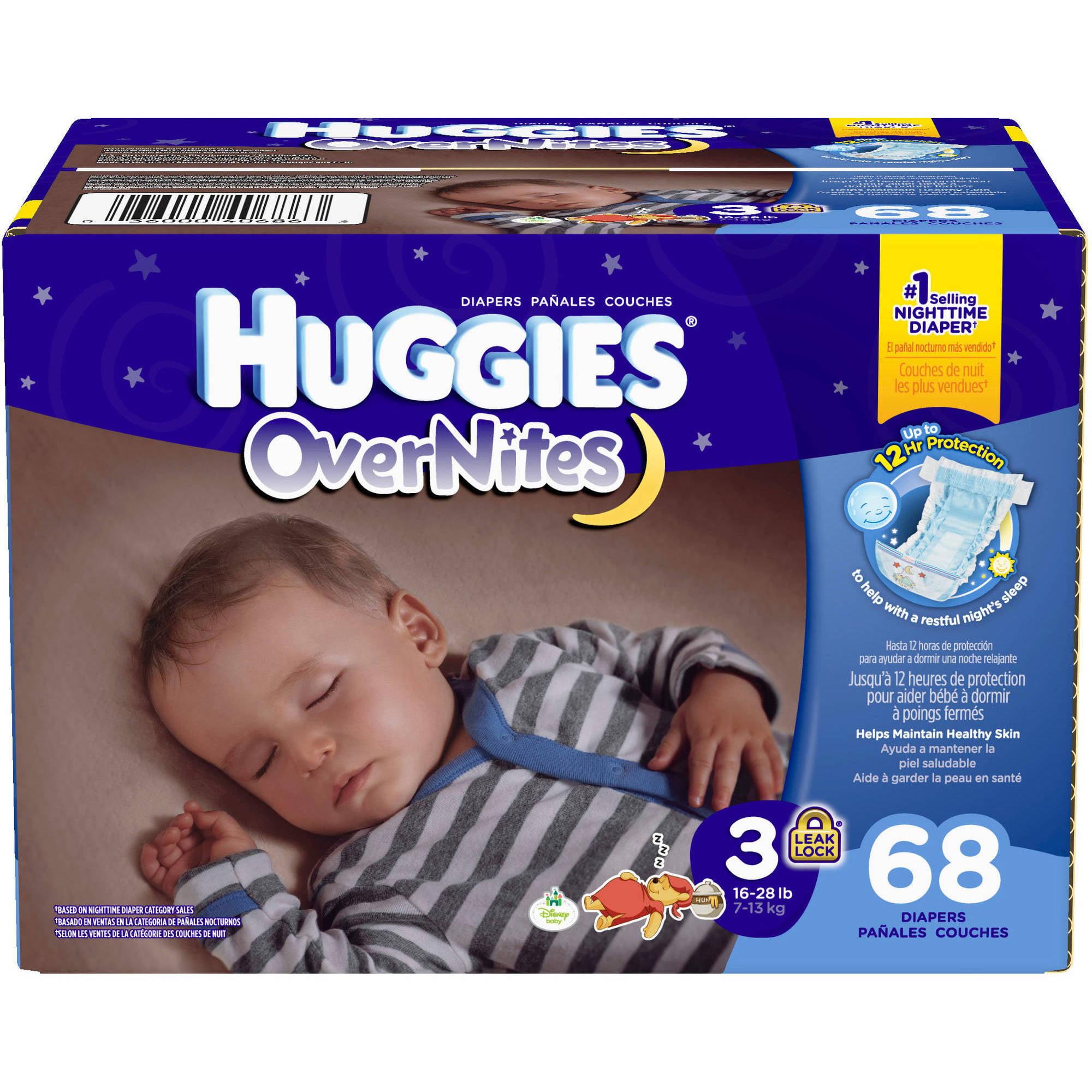 HUGGIES OverNites Diapers, Size 3 (Choose Diaper Count)