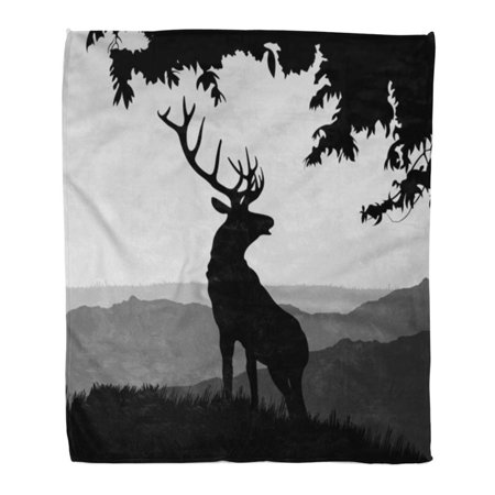 HATIART Throw Blanket Warm Cozy Print Flannel Monotonic of Elk Silhouette in The Natural Environment on Landscape Comfortable Soft for Bed Sofa and Couch 50x60 Inches - image 1 de 1