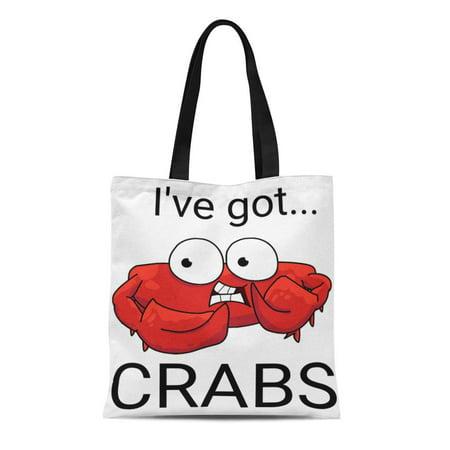 KDAGR Canvas Tote Bag Gumbo I Ve Got Crabs Pot Steaming Barbeque Clambake Reusable Handbag Shoulder Grocery Shopping