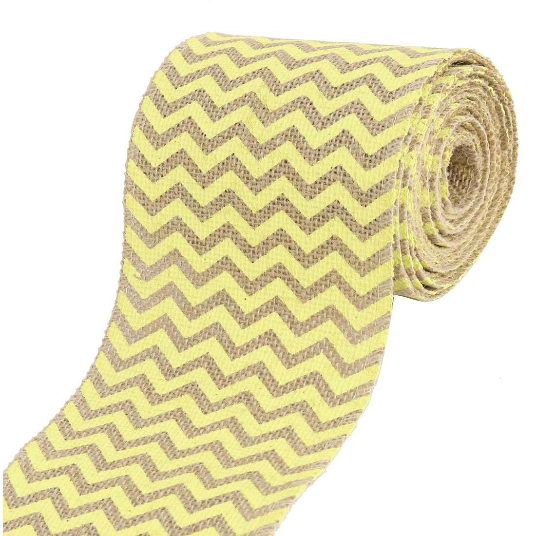 Home Jute Fiber Holiday Ornament Wave Pattern Burlap Roll Yellow 450cm Length