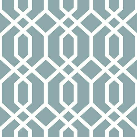 NuWallpaper Montauk Lattice Hemlock Blue Peel & Stick Wallpaper Montauk Blue Apparel