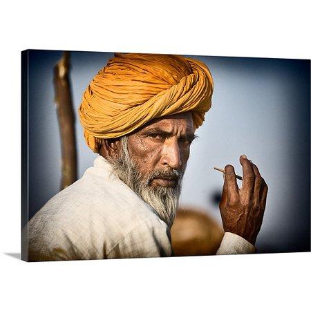 Great BIG Canvas Scott Stulberg Premium Thick-Wrap Canvas entitled Camel owner with turbin in Pushkar, Rajistan, India