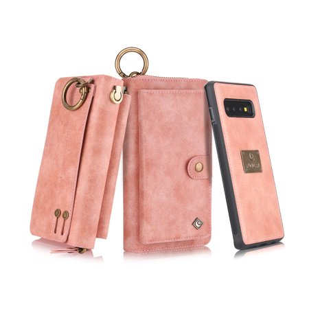 Leather Zipper Case - Galaxy S10 Wallet Case, Alleytech Girls Women Magnets Detachable Zipper Wallet Case Cover PU Leather Folio Flip Holster Carrying Case Card Holder for Samsung Galaxy S10 2019, Pink