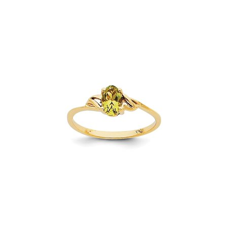 Band Peridot Ring - 14k Yellow Gold Green Peridot Birthstone Band Ring Size 7.00 Stone August Oval Gifts For Women For Her