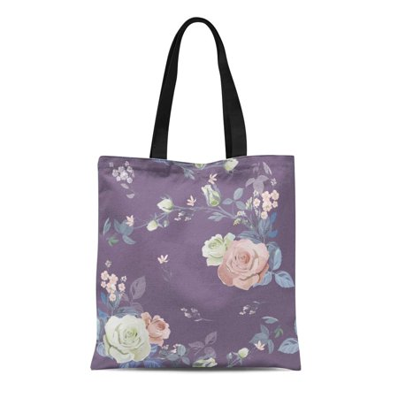 KDAGR Canvas Tote Bag Floral Branch White Pink Rose Bouquet Garden Flowers Buds Durable Reusable Shopping Shoulder Grocery Bag