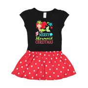 Merry Mermaid Christmas with Red Hair and Light Skin Tone Toddler Dress