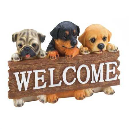 Welcome Garden Sign, Puppy Outside Porch Yard Modern Welcome Sign Outdoor ()