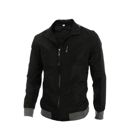 Unique Bargains Men's Convertible Collar Zip Up Two Pockets Slim Fit Jacket