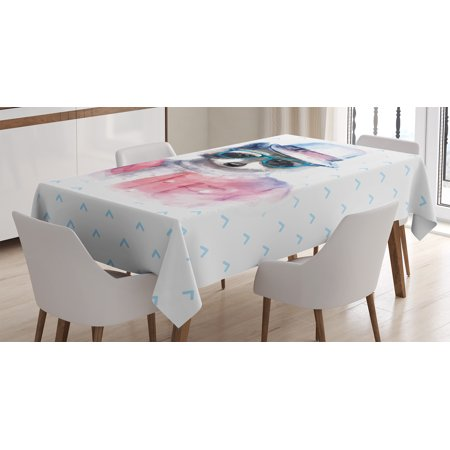 Funny Decor Tablecloth, Retro Hipster Funky Raccoon with Sunglasses Hat Pullover Portrait Animal Print, Rectangular Table Cover for Dining Room Kitchen, 60 X 84 Inches, Pink Blue, by Ambesonne (Sunglasses Funny)