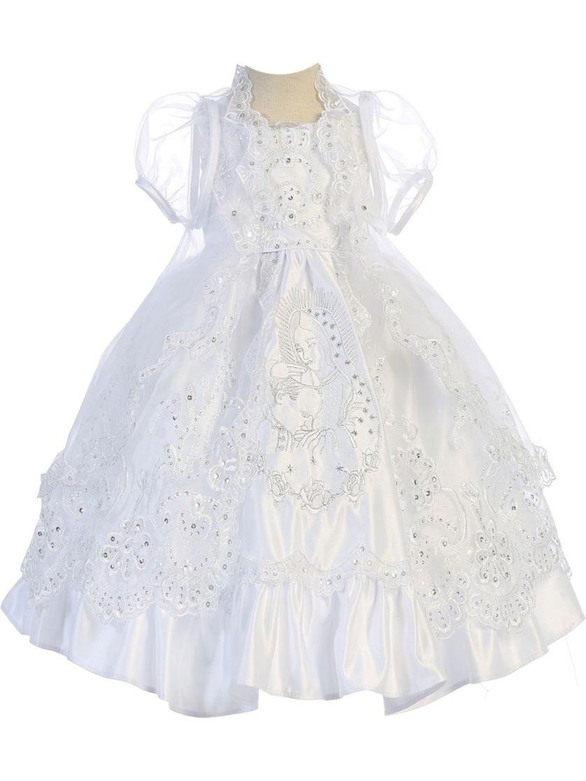 Angels Garment Baby Girls White Satin Organza Overlay Baptism Gown