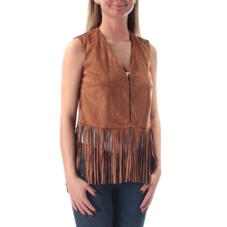 WILDFLOWER Womens Brown Fringed Sleeveless Open Top  Size: XS