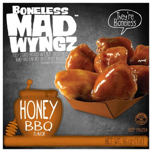 Mad Wings Boneless Honey BBQ Flavor Chicken Wings, 16 oz
