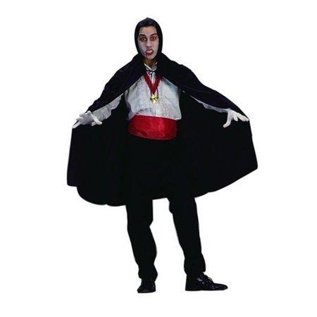 45 Inch Black Satin Cape - Black Nylon Hooded Costume Cape - 45 Inches