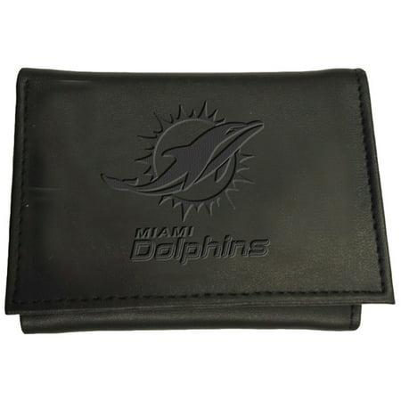 Miami Dolphins Black Leather (Miami Dolphins Hybrid Tri-Fold Wallet - Black - No Size )