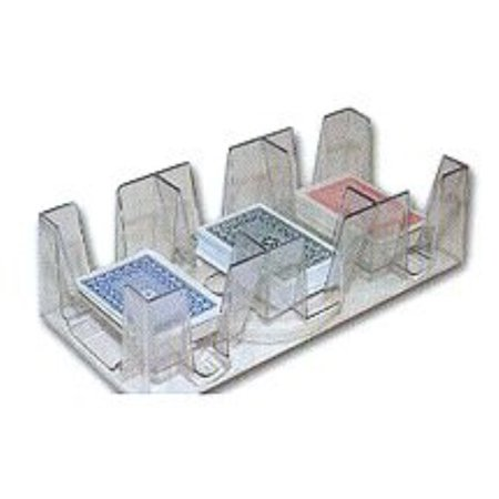 9 Deck Plastic Revolving Playing Card Tray with 3 Slots - Clear (Clear Playing Cards)