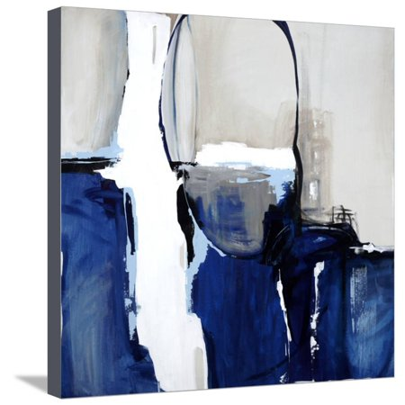 Blue Stretched Canvas Wall Art (Leaving at Midnight Blue Abstract Modern Art Stretched Canvas Print Wall Art By Sydney)