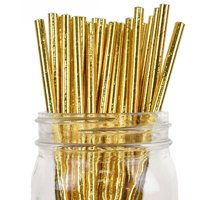 Just Artifacts 100pcs Decorative Solid Paper Straws (Solid, Metallic Gold)