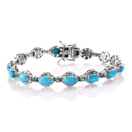 Sterling Turquoise Vintage Bracelets - Tennis Bracelet 925 Sterling Silver Platinum Plated Sleeping Beauty Turquoise Apatite Jewelry for Women Size 7.25
