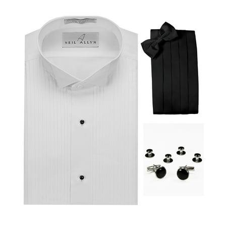 Wing Collar Tuxedo Shirt, Cummerbund, Bow-Tie, Cuff Links & Studs Set