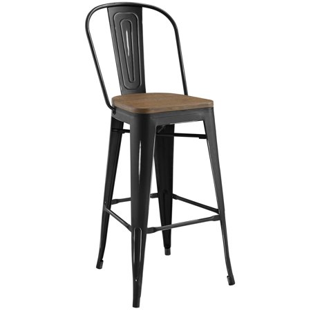 Black Weathered Cottage Pub - Industrial Country Cottage Farm Beach House Bar Pub and Dining Kitchen Bar Side Stool Chair, Metal Steel Wood, Black