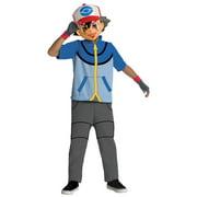 Pikachu Trainer Ash Ketchum Hero Deluxe Costume w/ Mask Pokemon BW Best Wishes Black & White Battle Go Game Child Kids TV Anime Manga Cartoon Halloween - Blue - Boys Medium (8-10)