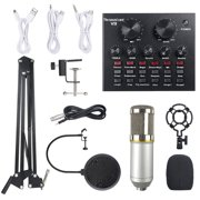 Multifunctional Live Sound Card & BM800 Suspension Microphone Kit Broadcasting Recording Condenser Microphone Set Intelligent Volume Adjustable Audio Mixer Sound Card