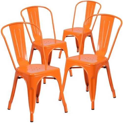 Flash Furniture Metal Indoor-Outdoor Chair, 4 Pack, Multiple Colors