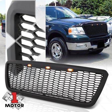 - Matte Black Honeycomb Mesh Front Bumper Grille w/LED DRL Light for 04-08 F150 05 06 07