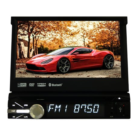 Universal single din Car Stereo with 7 inch HD digital Touch Screen Bluetooth  GPS Navigation Car Stereo Headunit Radio Player MP3 /USB/SD/AUX-IN/FM support multi Languages In Dash Car DVD Player
