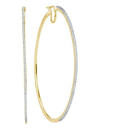 - 10K Yellow Gold Diamond Large Stylish Hoop Earrings 1/2 Ctw.