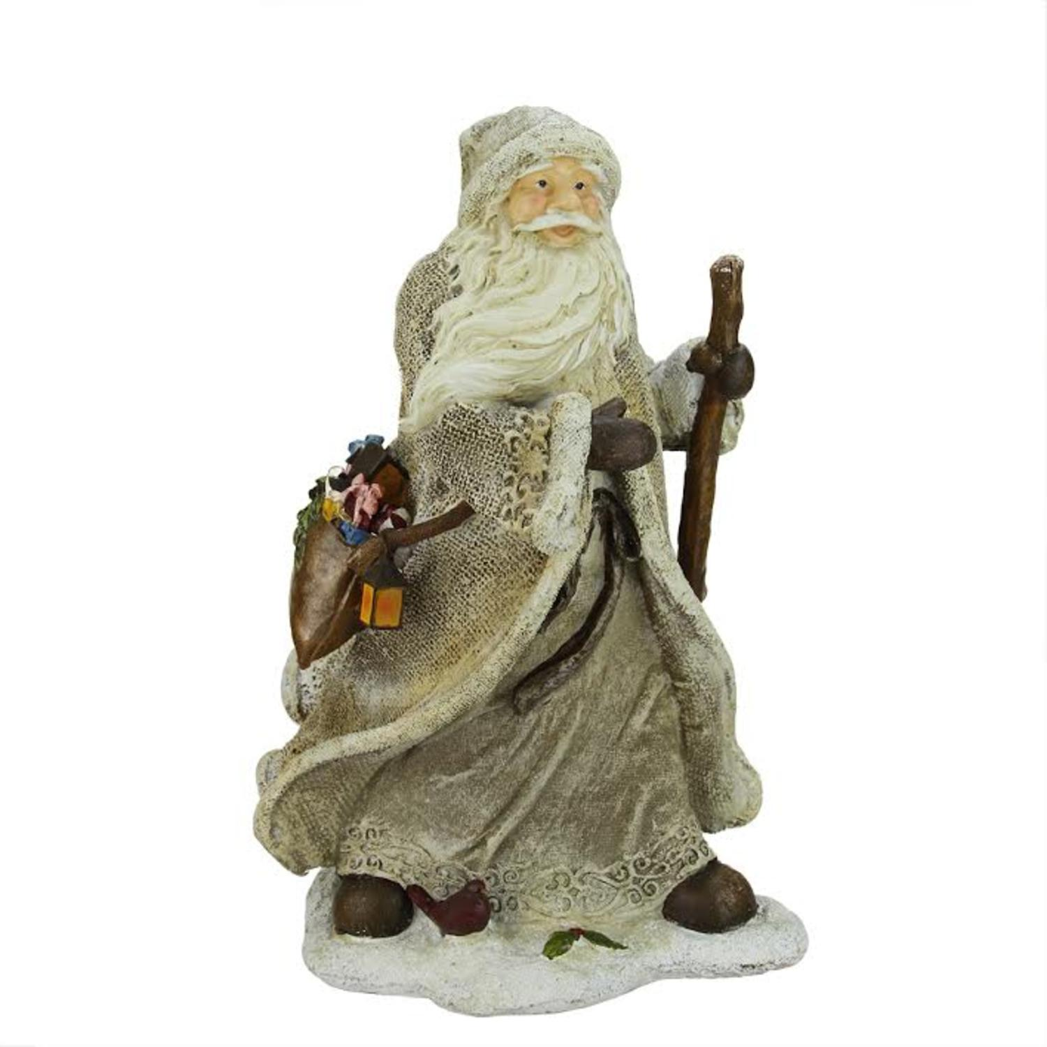 """16.5"""" Country Rustic Forest Santa Claus with Bird and Bag Christmas Table Top Figure"""
