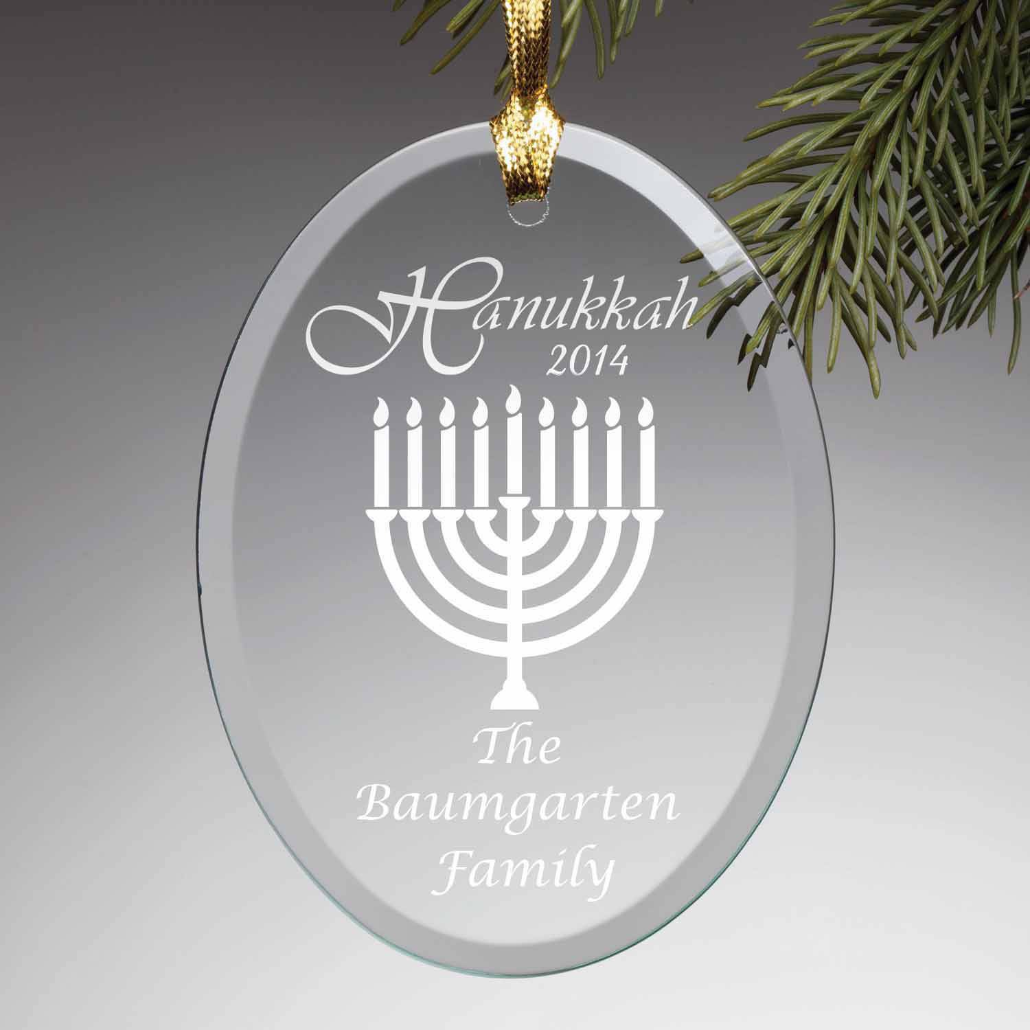 Personalized Happy Hanukkah Glass Ornament