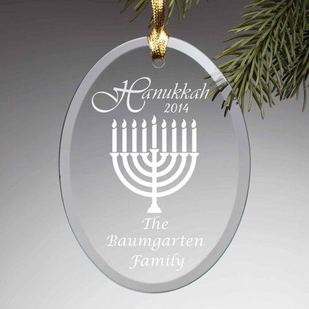 Personalized Happy Hanukkah Glass Ornament - Hanukkah Ornaments