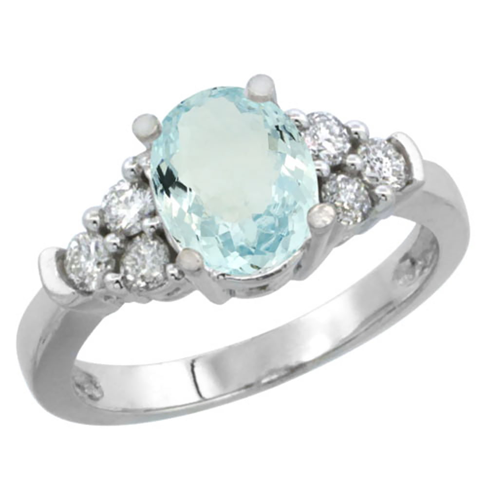 10K White Gold Natural Aquamarine Ring Oval 9x7mm Diamond Accent, size 5 by Gabriella Gold