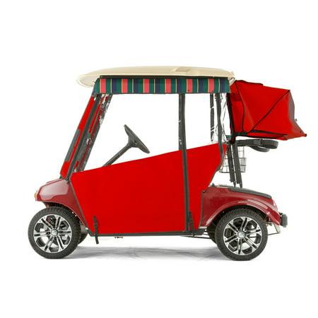 Red Golf Cart - Club Car DS Golf Cart PRO-TOURING Sunbrella Track Enclosure - Red