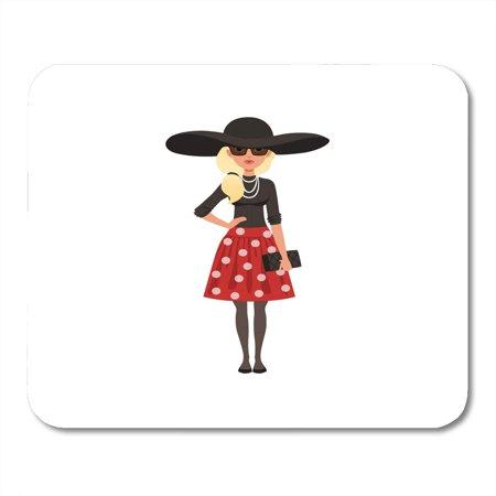 LADDKE Cartoon Adult Beautiful French Woman Character Dressed in Parisian Style on White Blonde Chic Mousepad Mouse Pad Mouse Mat 9x10 inch