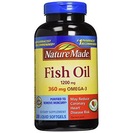 Nature Made Omega-3 Fish Oil Softgels, 1200 Mg, 200 Ct, 2 (Fish Oil Pills And Vitamin E For Booty)