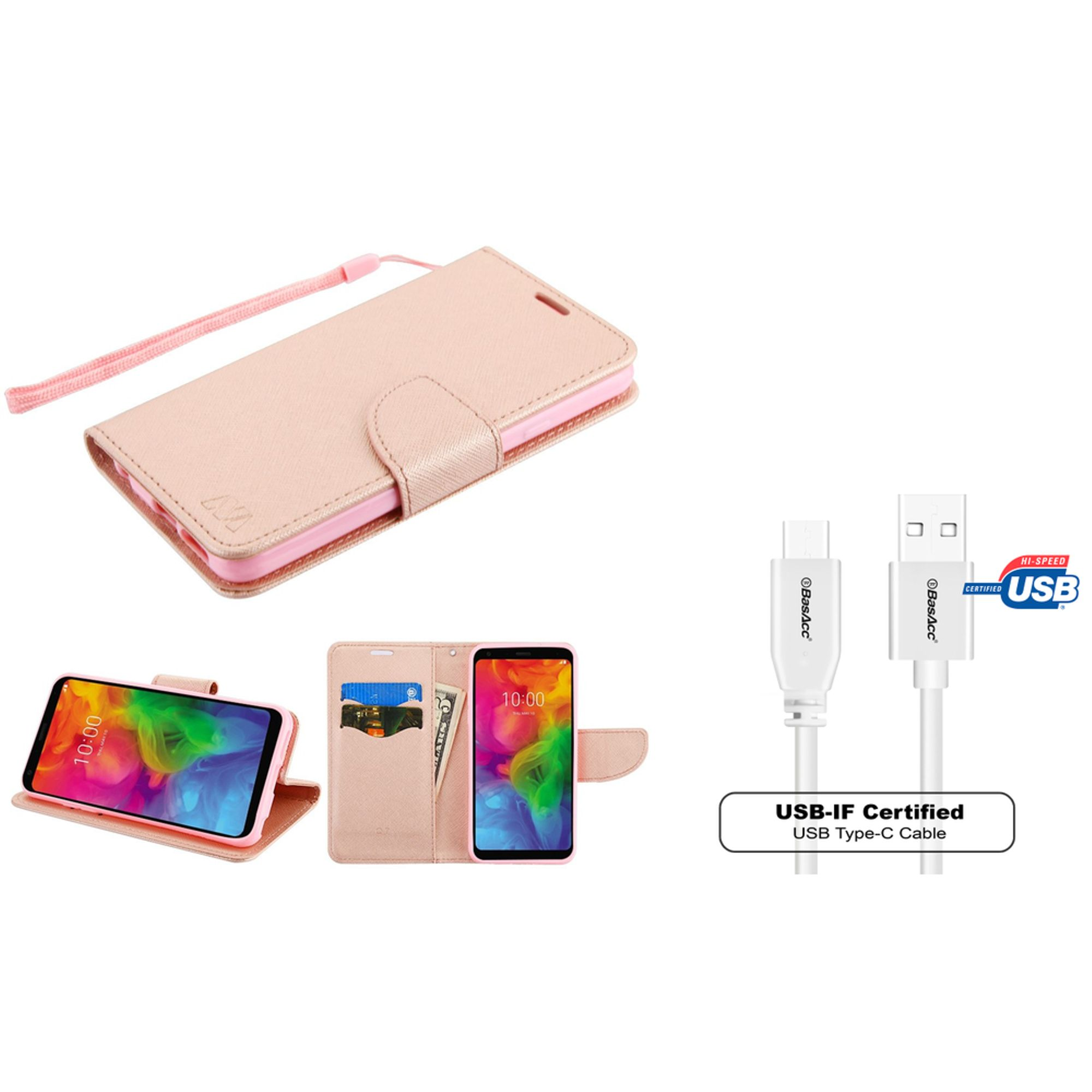 Insten Stand Folio Flip Leather Wallet Flap Pouch Case Cover For LG Q7/Q7 Plus - Rose Gold (Bundle with USB Type C Cable)
