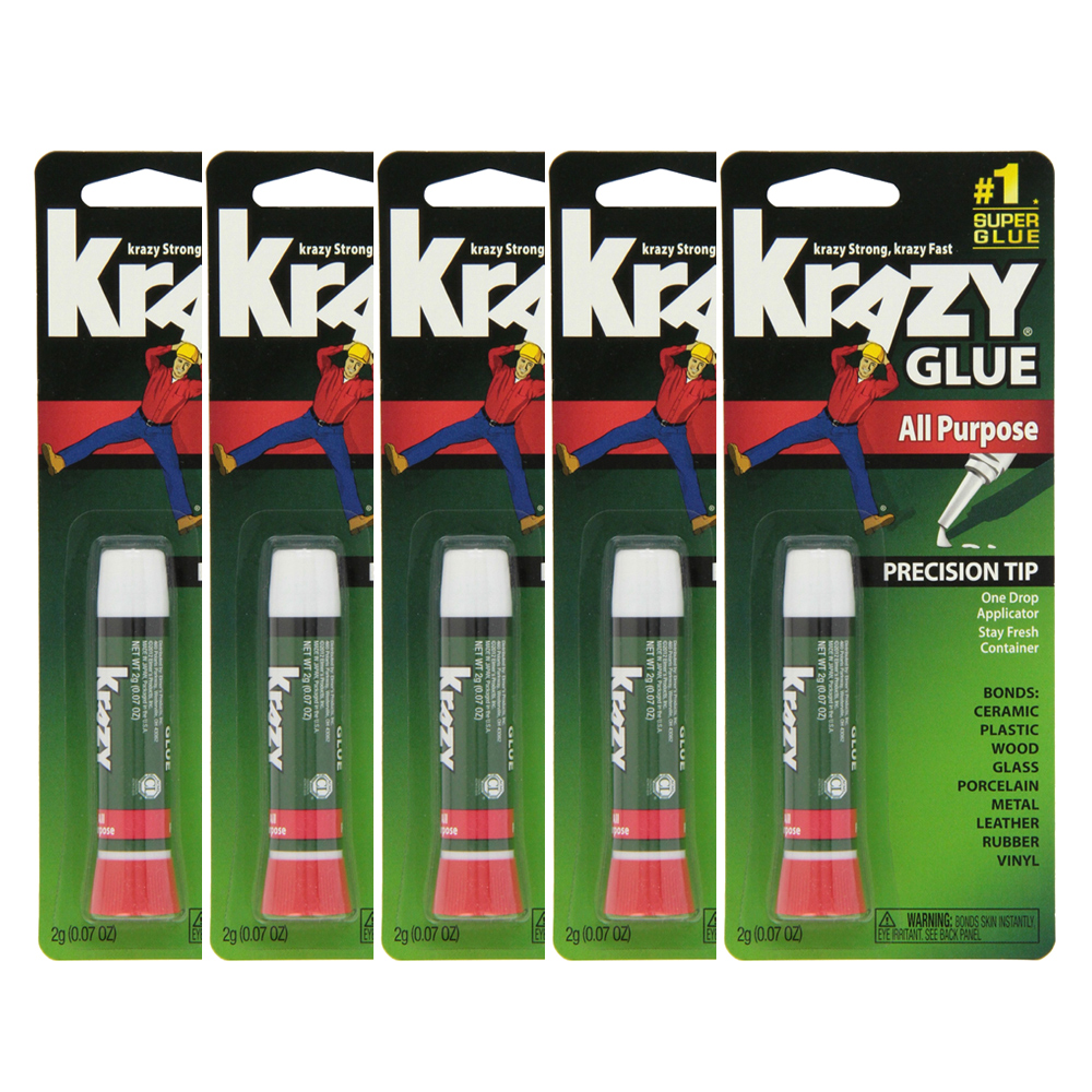 Lot Of 5 Elmers Krazy Glue Original Crazy Super Glue All Purpose Instant Repair