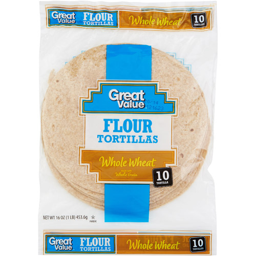 "Great Value Whole Wheat 8"" Flour Tortillas, 10 ct"