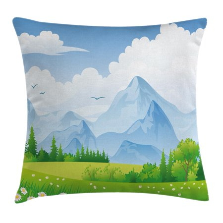 Nature Throw Pillow Cushion Cover  Summer Meadow With Daisy Flower Field With Mountain Happy Eco Landscape  Decorative Square Accent Pillow Case  16 X 16 Inches  Lime Green Light Blue  By Ambesonne