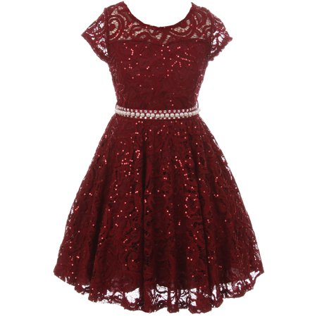 Little Girls Short Sleeve Lace Glitter Skater Pearl Belt Special Occasion Flower Girl Dress Burgundy 2 (J21KS02)](Glitter Dresses For Girls)