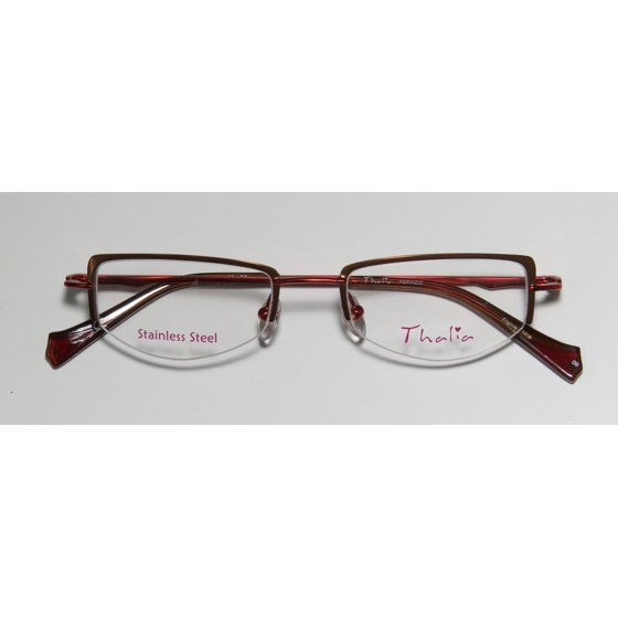 b3a5c456b475 New Thalia Abrazo Womens Ladies Designer Half-Rim Brown   Red Stainless  Steel Fashionable Frame Demo Lenses 43-18-130 Flexible Hinges Eyeglasses Eye  Glasses ...