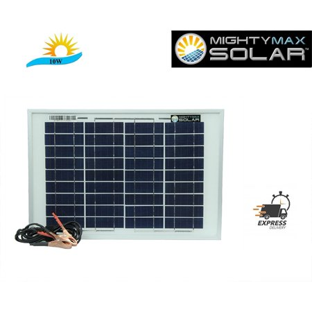 10 Watt polycrystalline solar panel with 6 foot alligator clips